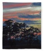 Late Sunset Trees In The Mist Fleece Blanket