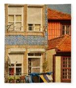 Laundry Day In Porto - Photo Fleece Blanket