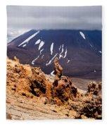 Lava Sculptures And Volcanoe Mount Ngauruhoe Nz Fleece Blanket