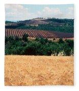 Lavender And Corn Fields In Summer Fleece Blanket
