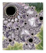 Lavender And Green Fractal Abstract  Fleece Blanket