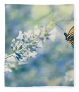 Lavender And The Butterfly Fleece Blanket