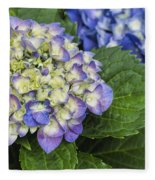 Lavender Blue Hydrangea Blossoms Fleece Blanket
