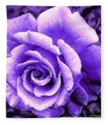 Lavender Rose With Brushstrokes Fleece Blanket