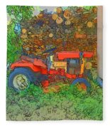 Lawn Tractor And Wood Pile Fleece Blanket