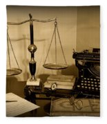 Lawyer - The Lawyer's Desk In Black And White Fleece Blanket