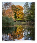 Lazienki Park Autumn Scenery In Warsaw Fleece Blanket