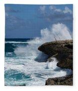 Lazy Fishing From The Rocks - No Fishermen Fleece Blanket