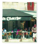 Le Cafe Cherrier Bistro Bar Au Coin Rue St Denis Montreal Terrace Restaurant Scene Carole Spandau Fleece Blanket