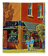 Le Fouvrac Foods Chocolates And Coffee Shop Corner Garnier And Laurier Montreal Street Scene Fleece Blanket