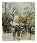 Le Quai De Louvre Paris Fleece Blanket