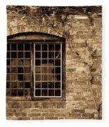 Leaded Glass Window In Sepia Fleece Blanket