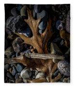 Leaf And Stones Fleece Blanket