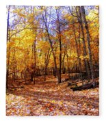 Leaf Covered Trail Fleece Blanket
