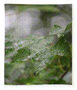 Leafy Raindrops Fleece Blanket