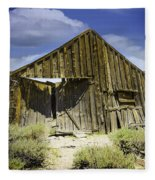 Leaning Barn Of Bodie California Fleece Blanket