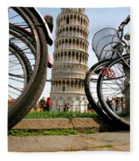 Leaning Bicycles Of Pisa Fleece Blanket