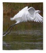 Leaping Egret Fleece Blanket