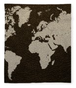 Leather Texture Map Of The World Fleece Blanket