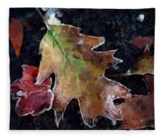 Leaves And Frost Fleece Blanket