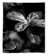 Leaves - Bw Fleece Blanket