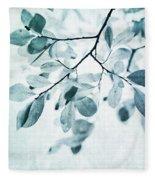 Leaves In Dusty Blue Fleece Blanket by Priska Wettstein