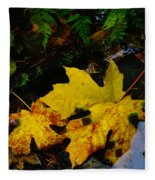 Leaves In Still Shallows Fleece Blanket