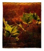 Leaves On Texture Fleece Blanket