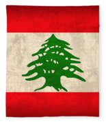 Lebanon Flag Vintage Distressed Finish Fleece Blanket