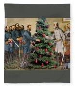 Lee And Grant At Appomattox Fleece Blanket