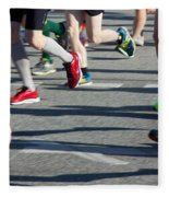 Legs Of Runners At Marathon Fleece Blanket