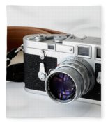 Leica M3 With Leather Strap Fleece Blanket