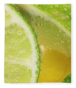 Lemon And Lime Slices In Water Fleece Blanket