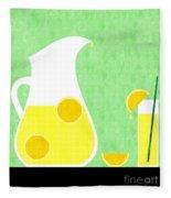 Lemonade And Glass Green Fleece Blanket