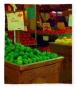 Lemons And Limes Farmers Market Food Stalls Market Vendors Vegetable Food Art Carole Spandau Fleece Blanket