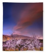 Lenticular Clouds Over Almond Trees Fleece Blanket
