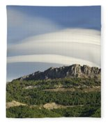 Lenticular Clouds Over Dornajo Mountain Fleece Blanket