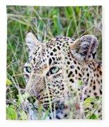 Leopard In The Grass Fleece Blanket