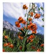 Leopard Lilies Below Lassen Peak Fleece Blanket