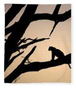Leopard Sitting In A Tree Fleece Blanket