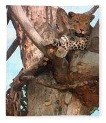 Leopard Up A Tree Fleece Blanket