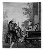 Leopold Mozart And His Two Children Fleece Blanket