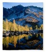 Leprechaun Lake Larch Trees Fleece Blanket