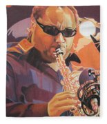 Leroi Moore Purple And Orange Fleece Blanket