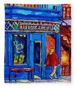Les Belles Soeurs  Montreal Restaurant Plateau Mont Royal Painting By Carole Spandau Fleece Blanket