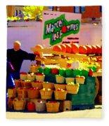 Les Pommes Fruiterie Marcel Vert Pommes Red Apples Jean Talon  Market Scenes Carole Spandau  Fleece Blanket