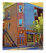 Les Saveurs Cafe Resto Grillades Tapas Petit Dejeuner Montreal French Cafe City Scene Carole Spandau Fleece Blanket