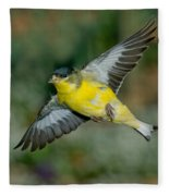 Lesser Goldfinch Male-flying Fleece Blanket