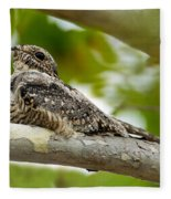 Lesser Nighthawk On Branch Fleece Blanket