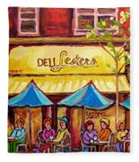 Lester's Deli Montreal Smoked Meat Paris Style French Cafe Paintings Carole Spandau Fleece Blanket